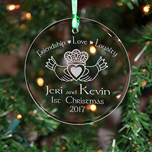 Lplpol Personalized Engraved Couples Irish Celtic Claddagh Glass Christmas Ornament Holiday Ornament 1st Orn10