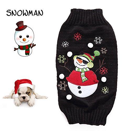 Delifur Dog Ugly Christmas Sweater Xmas Sweater Dog Christmas Snowman Sweater Cat Ugly Christmas Sweater Black Sweater for Cat Dog (M, Snowman)