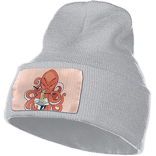 Overlooked Eine Karikatur-Krake, die asiatische Nudeln-Mann-Frauen-Winter-weiche warme Strickmütze-Starke graue Beanie-Kappe isst