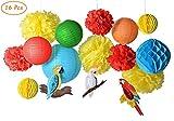 paper jazz 16pcs Parrot Tropical Birds Honeycomb Paper Pom Poms Lanterns for Fiesta Wedding Birthday Summer Beach Seaside Hawaiian Luau Tiki Party Decorations Yellow Blue Green Color (Parrot kit red)