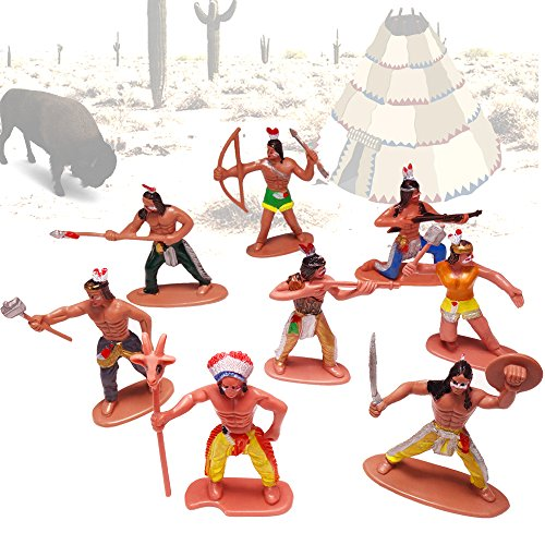 German Trendseller® - 12 x Indianer - Spielzeug Figuren ┃ NEU ┃ Kindergeburtstag ┃ Mitgebsel Mix ┃ Indianer Figuren Mix ┃ 12 Stück