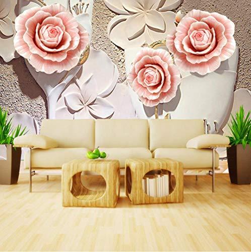 Behang 3D slaapkamer woonkamer Nordic Background Wall Moderne vlies wanddecoratie bloemen reliëf roze champagne 250(w)x175(H)cm