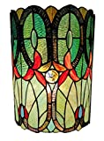 Amora Lighting Tiffany Style Wall Lamp 2 Light Stained Glass Green Blue Vintage Antique for Hallway Bedroom Living Room 10' Wide 13.5' Tall Gift AM247WL10B, Multicolored