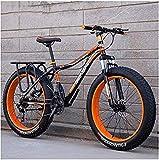 Bicicleta Montaña, Adultos Fat Tire Mountain Bikes 24 Pulgadas 26 Pulgadas Doble Disco Freno Hardtail Mountain Bike Eje Delantero suspensión Bicicleta Mujeres-re_24 Pulgadas 21 velocidades