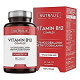 Vitamina B12 Vegana 2000mcg Cianocobalamina e Metilcobalamina | Alta Potenza senza Aggiunte | Formazione di Globuli Rossi e Stanchezza Ridotta con Vitamina B9 e B6 | 120 Compresse Vegetali Nutralie