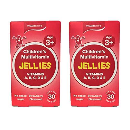 2 x 30 Multivitamins Children 3+ Tablets Strawberry Jellies Vitamin A B C D E