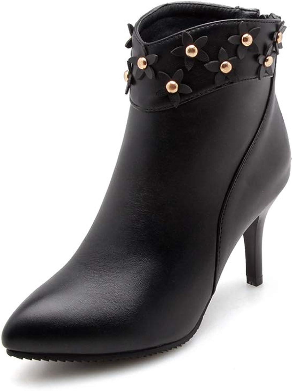 Btrada Women's Sexy Ankle Boots Flower High Heels Thin Heels Pointy Toe Back Zipper Daily Wear Booties