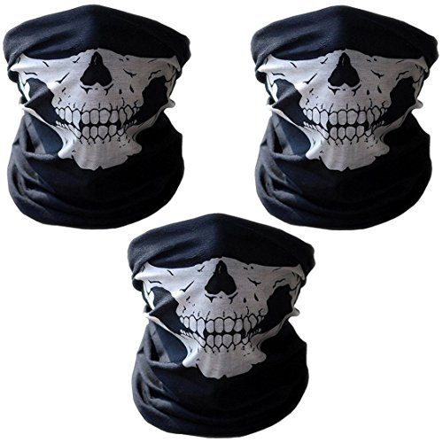 3er Set Multifunktionstuch   Schlauchtuch   Sturmmaske   Bandana   Totenkopf Halstuch Skelettmaske für Motorrad Fahrrad Ski Paintball Gamer Karneval Kostüm Skull Maske