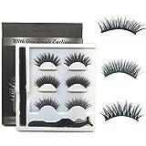 NO GLUE,NO MAGNENT ICYCHEER 3Pairs Makeup Magic Eyeliner Eyelashes Set Eyelashes Mink 3D Thick Handmade Natural Look Waterproof Reusable Eyelash Extension (Thick)
