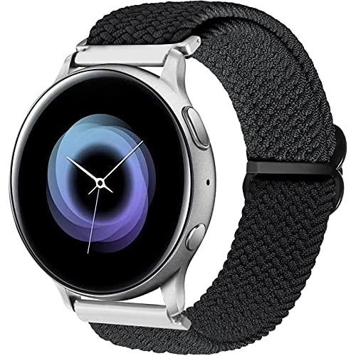 Vecann Correa trenzada compatible con Galaxy Watch Active 2 40mm 44mm, 20mm Correa de deportiva elástica ajustable para Galaxy Watch 3 41 mm/Galaxy Watch 42 mm/Active 40 mm/Gear Sport/Gear S2 Classic