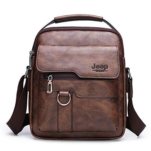 csfssd Men's jeep bag shoulder bag fashion business minimalist hand to mention the retro handbag PU leather (Color : 3)
