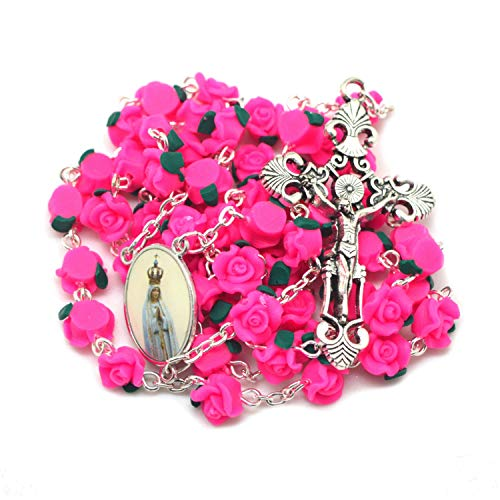 Prettyrosary Rosario de Cuentas de Rosa de Nuestra Señora Fatima.