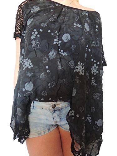 15 Damen Blusen Shirt mit Blumenmuster Gr. 46 48 50 52 (Schwarz)