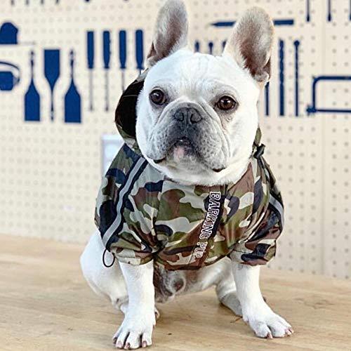 GSDJU Wasserdicht,Winddicht,Stilvolles,Camouflage Regenmantel Winddichte Haustierhundekleidung kleine Hundekleidung Französische Bulldogge Jacke Mantel Mops Kleidung