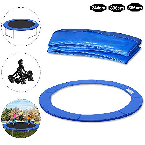 Froadp Ø244cm Rond Coussin de Sécurité pour Trampoline Remplacement Housse de Protection Résistant aux Rayons UV et Anti-déchirure Protection(Bleu)