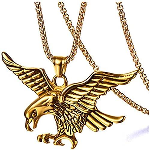 NC198 Collar con Colgantes de alas de halcón águila Animal de Acero Inoxidable de Titanio para joyería de Hombre