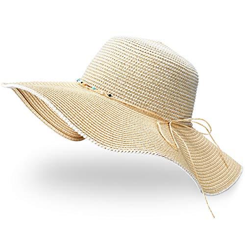 GIKPAL Cappello Paglia Donna, Cappelli Estivo da Sole in Paglia a Tesa Larga con Fiocco, Protezione UV Paglia da Cappello della Sole per Spiaggia e Vacanze
