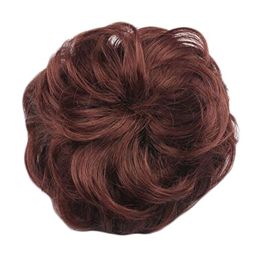 Frauen Chignon Haarteil Per?cke Haarknoten Erweiterung, Light Red Brown