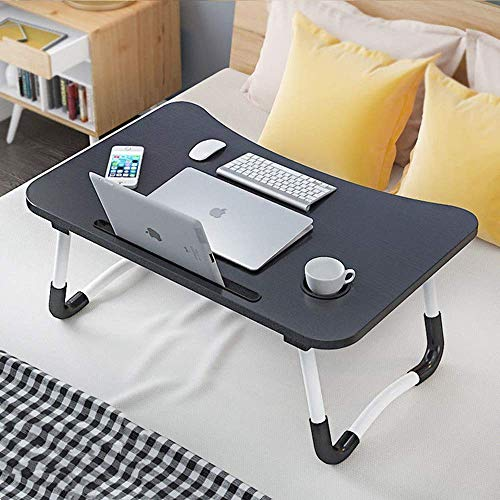 Laptop Desk, Sereey Portable Laptop Bed Tray Table Notebook Stand Reading Holder with Foldable Legs & Cup Slot for Eating Breakfast, Reading Book, Watching Movie on Bed/Couch/Sofa (Striped Black)