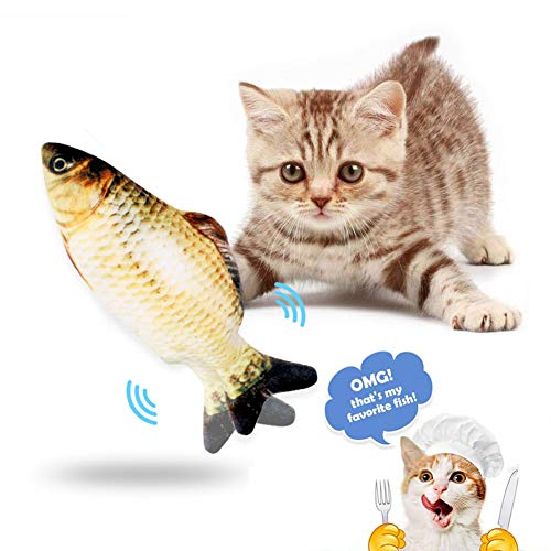 Juguetes para Gatos, Simulación Realista de Felpa Pez muñeca eléctrica, Pescados del Juguete Interactivos Divertidos Juguete de Limpieza de Dientes