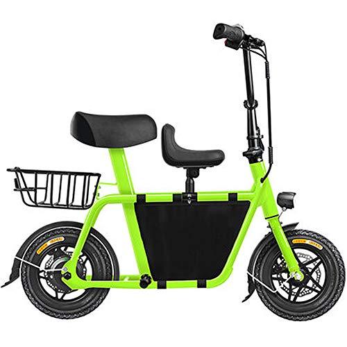D&XQX Mini Eltern Kind Elektroauto Für Erwachsene, Variable Speed Kleines Bewegliches Faltbare Fahrrad, Licht-Auto-Shock Dual-Lithium-Batterie Im Freien Bike Adventure,Grün