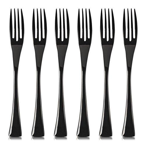 LEKOCH 17.5 cm en acier inoxydable apéritif/salade/fourchettes à dessert Set de 6 (noir poli)
