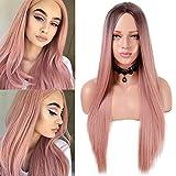 Faffooz Peluca larga rosa para mujer, Peluca Larga Recta De Aspecto Natural Con Parte Media Con Peluca Sintética De Reemplazo De Cabello Suave De 25 Pulgadas