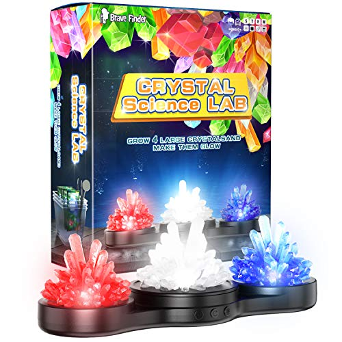 CAPKIT Science Kit for Kids - Crystal Science Experiment Lab, Craft Toys with Glow Rotating Dispaly, 4 Vibrant Crystals, STEM Educational DIY Science Kit, Best Gifts for Boys & Girls Kids Toy