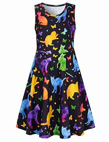 Vestidos Casuales para niña Joven Ropa de Juego de Gato Gráfico 3D Mariposa Vestido de Verano Lindo Túnica Animal de Manga Corta Camiseta sin Mangas Encantadora Verano Ropa de Sol Sedoso Mamá Bebés