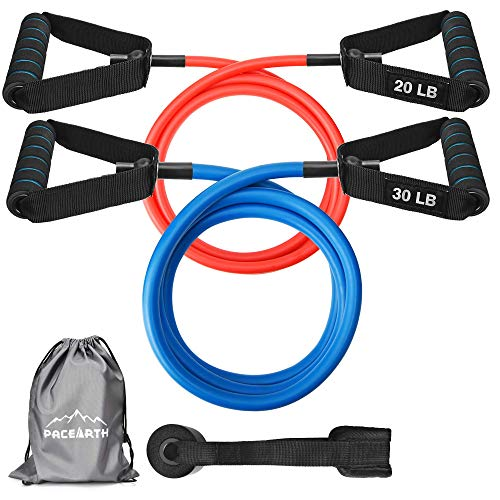 PACEARTH Resistance Bands Set with Upgraded Door Anchor 59 inches Longer Exercise Bands with Handles and Waterproof Carry Bag Training Tubes for Resistance Training Physical Therapy Home Workouts