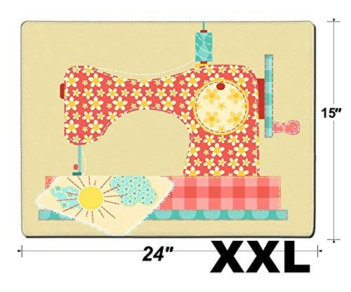 MSD Extra Large Mouse Pad XXL Extended Non-Slip Rubber Large Gaming Desk Mat Image 11913845 Sewing Machine Patchwork Vintage Series