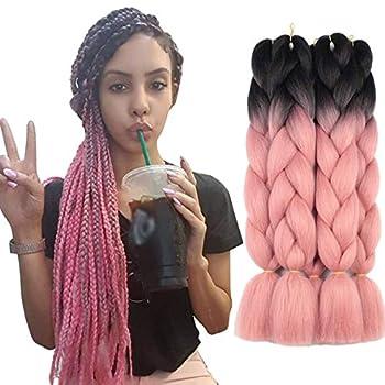 Xtrend 5Pcs 2 Tone Ombre Braiding Hair Crochet Braids 24 Inch Synthetic Hair Extensions Jumbo Braiding Hair Extension for Box Braiding Hair 100g/pc  5 Pieces Black/Orange Pink#