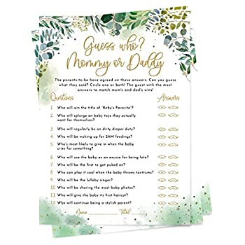 50 Guess Who? Mommy or Daddy? Cards - Greenery Baby Shower Games - Gender Neutral