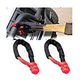 Fekuar Synthetic Soft Orange Shackle 1/2' X 22 Inch Rugged Off Road Shackles (41,000 lbs) Maximum Break Strength with Protective Sleeve for Off-Road Towing ATV Recovery(Red, 2-Pack)