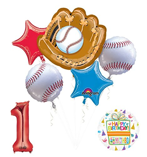 Mayflower Products Baseball 1st Birthday Party Supplies and Balloon Bouquet Decorations
