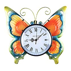 Butterfly Wall Clock, Vintage Retro Time Clock Large Battery Operated Wall Clocks for Living Room Decor