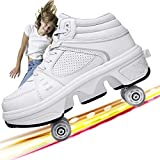 High Gang 4 Wheel Ajustable Quad Roller Skates Boots, 2-En-1 Zapatos Multiusos, Zapatos para Caminar,White High Top,38