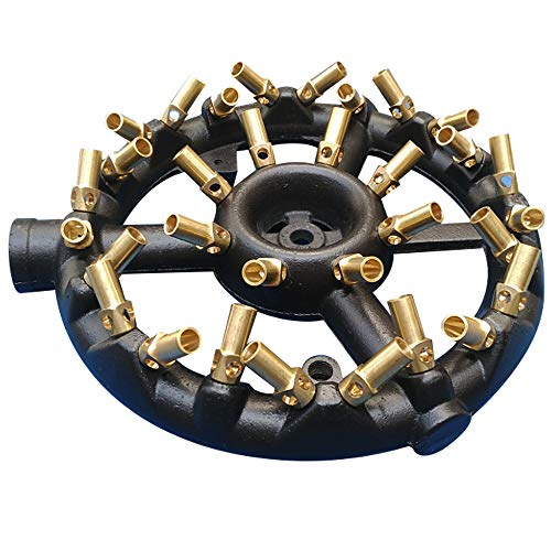 Jet Burner Round Shape with 32 Brass Tips Iron Brass Jet Gas Burner with 3/8 Pipe Natural Gas Propane Burners for Indoor/Outdoor Cooking Up to 80,000 BTU/HR (32 Tips)