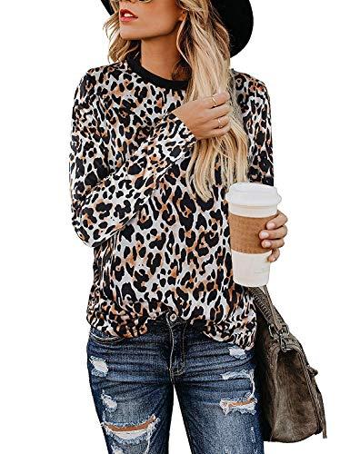 Yidarton Women's T Shirt Leopard Print Tops Long Sleeve Casual Cotton Round Neck Cute Blouse(Leopard02-long Sleeve,X-Large) (Apparel)