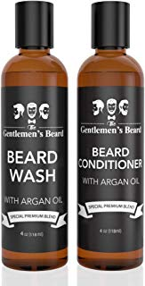 Beard Wash Shampoo & Beard Conditioner Softener Set with Argan Oil - Aids Growth and Volume - Softens, Smooths & Strengthens All Types of Beards & Mustaches - Made in The USA