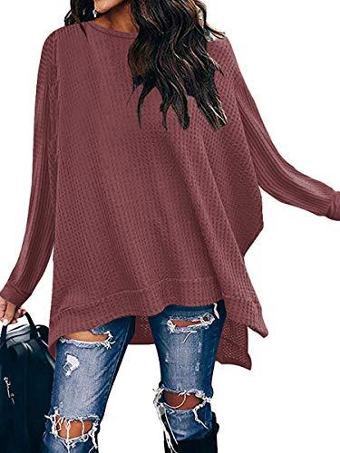 ANRABESS Women Long Batwing Sleeve Shirt Casual Oversized High Low Hem Tunic Tops Waffle Knit Sweater A138xiuhong-XL Rust