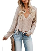 Eytino Women Sexy V Neck Pullover Sweater Loose Long Sleeve Knitted Crop Top,Medium Apricot