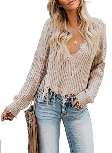 Dearlove Womens Causal Sexy Long Sleeve V Neck Distressed Sweater Ripped Cable Knit Pullover Crop Tops Frayed Jumper Apricot X-Large