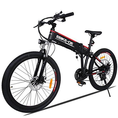 Buyi-World Bicicletta Elettrica Mountain Bike 26' pollici E-Bike 250W con Batteria 36V 8Ah, 28 km/ore (con Spina Europea + Spina UK) Nero