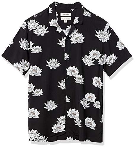 Goodthreads Standard-fit Short-Sleeve Camp Collar Hawaiian Shirt Camisa, Flor de Loto, S