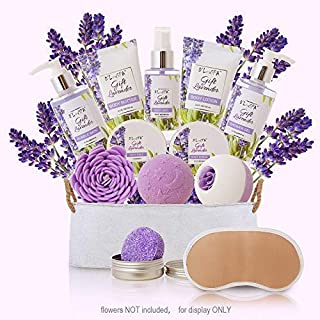 Spa Gift Baskets for Women Lavender Bath and Body At Home Spa Kit Mothers Day Spa Gifts Ideas - Luxury 13pcs with Bath Bombs, Shampoo Bar, Eye Mask, Shower Gel, Bubble Bath, Salts, Body Scrub Lotion