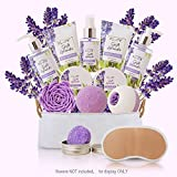 Spa Gift Baskets for Women Lavender Bath and Body At Home Spa Kit...