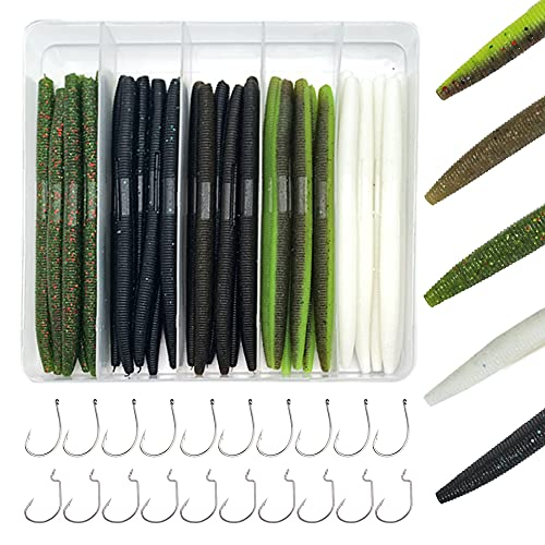 GZBomei Senko Worms,30PCS 5'' Soft Plastic Stick Bass Fishing Lure kit with Tackle Box,Wacky Rig Worms Soft Rubber Bait for Freshwater Saltwater