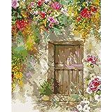 DIY Pintura Al Oleo por Números Adultos Niños,Lienzos para Pintar Acrílicas Kits para Día De La Madre Regalos,Decoracion Hogar 16x20Inch(Sin Marco) Flores afuera de la puerta