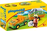 PLAYMOBIL 1.2.3 Vehículo Zoo Rinoceronte, Color Multicolor, Estándar (70182)